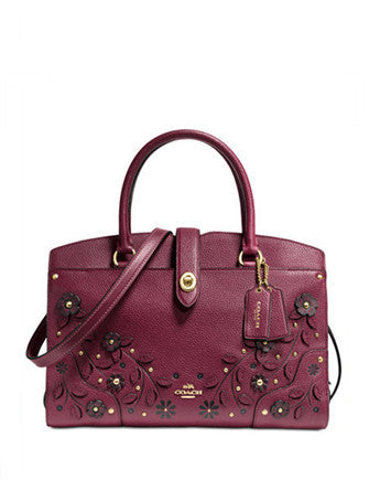 Coach Willow Floral Mercer Satchel 30 in Grain Leather