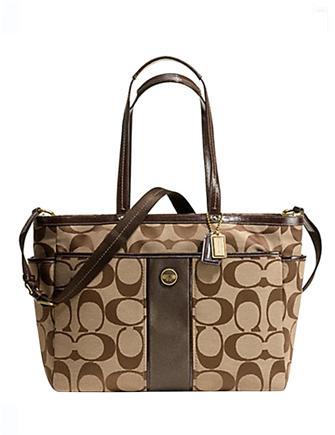 Coach Signature Print Center Stripe Multifunction Baby Tote