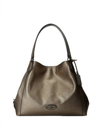 Coach Edie Metallic Pebbled Leather Shoulder Bag