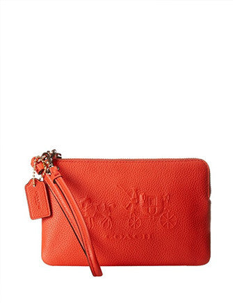 Coach Embossed Horse and Carriage Small L-Zip Wristlet