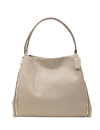 Coach Metallic Caviar Grain Studded Phoebe Shoulder Bag