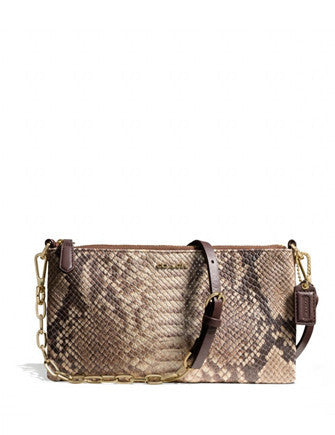 Coach Kylie Python Embossed Leather Chain Crossbody