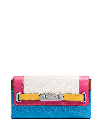 Coach Swagger Wallet in Rainbow Colorblock Leather