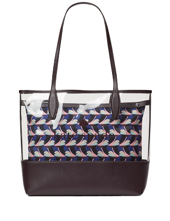 Kate Spade New York Ash See-through Geo Bird Large Triple Compartment Tote