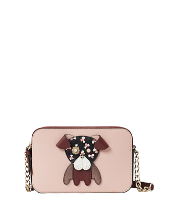 Kate Spade New York Floral Pup Double Zip Small Crossbody