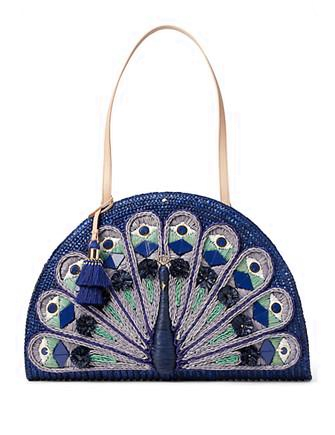 Kate Spade New York Full Plume Straw Peacock Bag