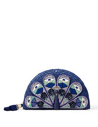 Kate Spade New York Full Plume Straw Peacock Clutch
