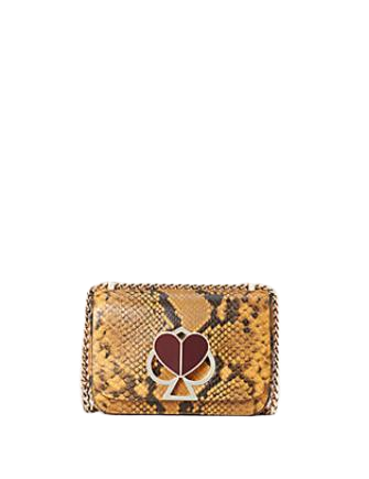 Kate Spade New York Nicola Snake Embossed Twistlock Small Convertible Chain Shoulder Bag