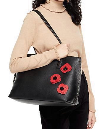 Kate Spade New York On Purpose Zip Top Poppy Studded Leather Tote