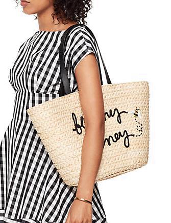 Kate Spade New York Picnic Perfect Straw Bee Tote