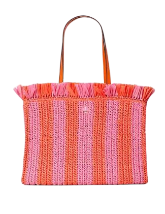 Kate Spade New York Sam Stripe Straw Large Tote