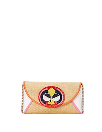 Kate Spade New York Spademals Raffia Preeny Peacock Chain Clutch