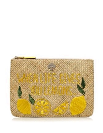 Kate Spade New York Vita Riva Large Lemon Bella Pouch Clutch
