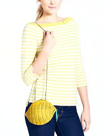 Kate Spade New York Vita Riva Wicker Lemon Clamshell Clutch