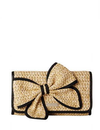 Kate Spade New York Belle Place Woven Straw Bow Viv Clutch
