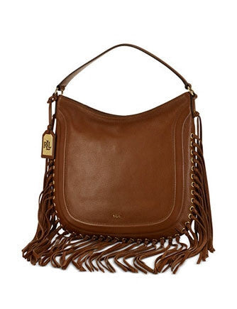 Lauren Ralph Lauren Wheeler Leather Fringe Hobo Bag