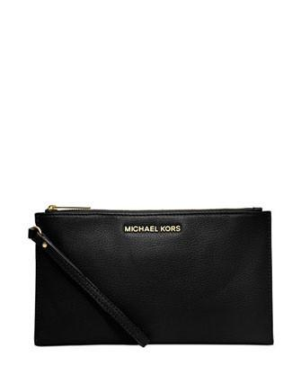 Michael Michael Kors Bedford Large Pebbled Leather Zip Top Clutch