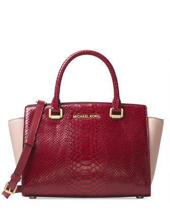 343627dc6bcd8 Michael Michael Kors Selma Snake Embossed Medium Top Zip Satchel ...
