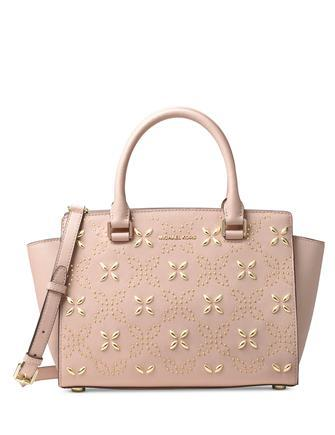 Michael Michael Kors Selma Medium Top Zip Studded Floral Satchel