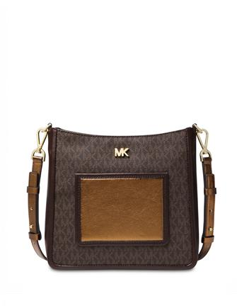 Michael Michael Kors Signature Metallic Gloria Pocket Swing Pack Crossbody