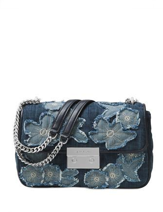 Michael Michael Kors Sloan Large Floral Denim Chain Shoulder Bag