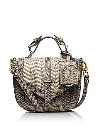 Tory Burch 797 Snake Embossed Leather and Raffia Pouch