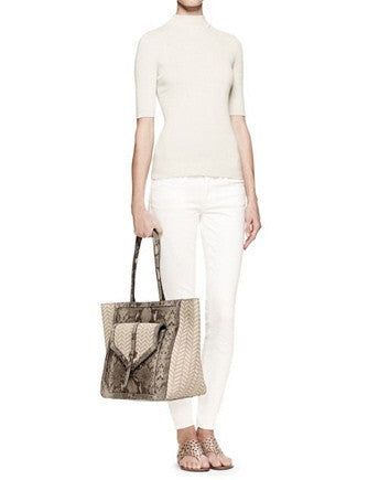 Tory Burch 797 Snake Embossed Leather and Raffia Open Tote