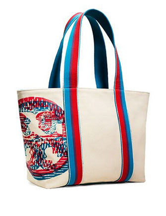 Tory Burch Beach 3-D Small Zip Canvas Tote Bag