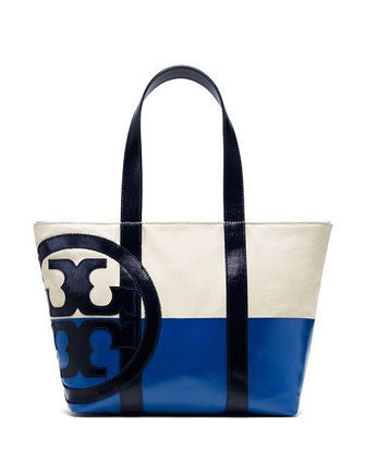 Tory Burch Beach Dipped Small Canvas Zip Shoulder Tote