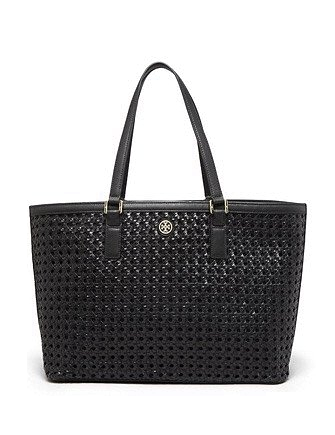 Tory Burch Robinson Basket Weave Leather Tote