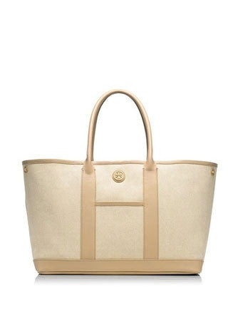 Tory Burch Brooke Canvas and Leather Shopper Tote
