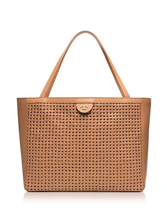Tory Burch Erica Woven Perforated Leather Shoulder Tote
