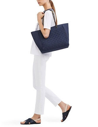 Tory Burch Quilted Denim Fleming  Shopper Tote