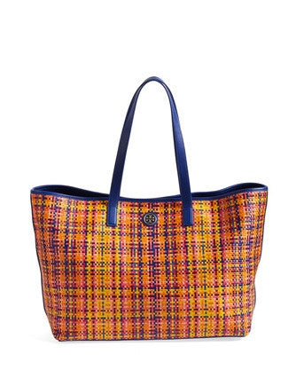 Tory Burch Jane Woven Leather Shoulder Tote