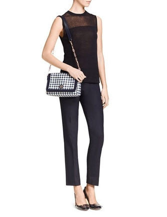 Tory Burch Kerrington Gingham Chain Strap Shoulder Bag
