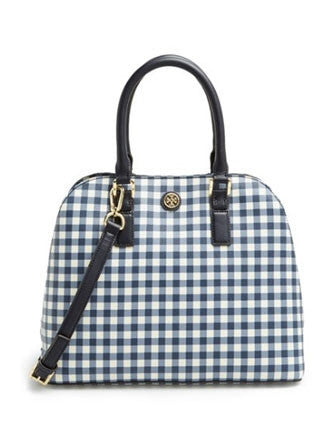 Tory Burch Kerrington Gingham Print Dome Satchel
