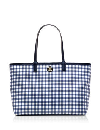 Tory Burch Kerrington Navy Gingham Printed Tote