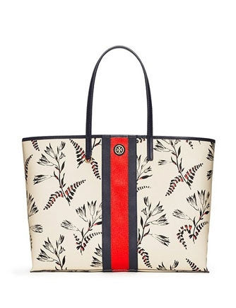Tory Burch Kerrington Stripe Fern Print Square Tote