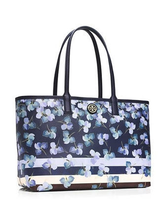 Tory Burch Kerrington Watercolor Iris and Stripe Tote