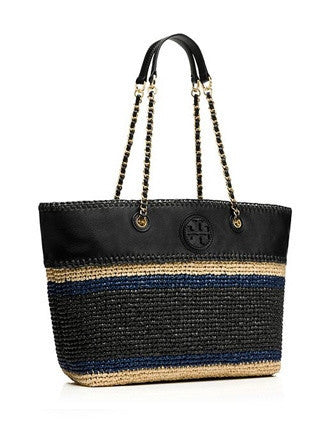 Tory Burch Marion Crochet Stripe Straw Shoulder Tote