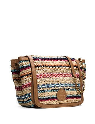 Tory Burch Marion Woven Rafia Small Stripe Shoulder Bag
