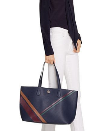 Tory Burch Perry Striped Leather Shopper Tote