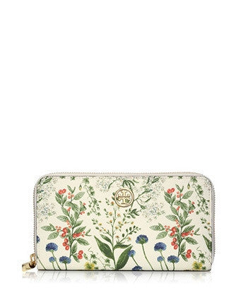 Tory Burch Robinson Watercolor Botanical Continental Wallet