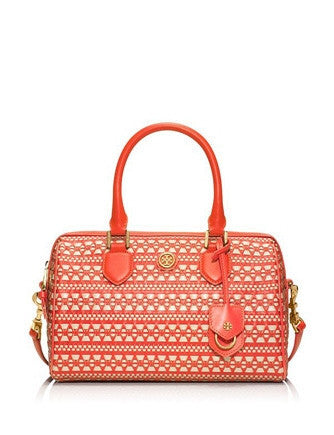 Tory Burch Robinson Woven Geometric Pattern Satchel