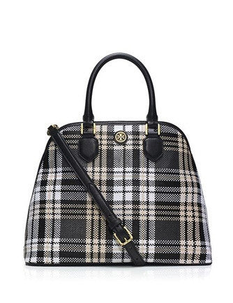 Tory Burch Robinson Woven Plaid Open Dome Satchel