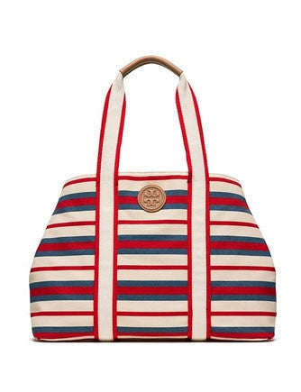 Tory Burch Stripe Printed Canvas Shopper Tote