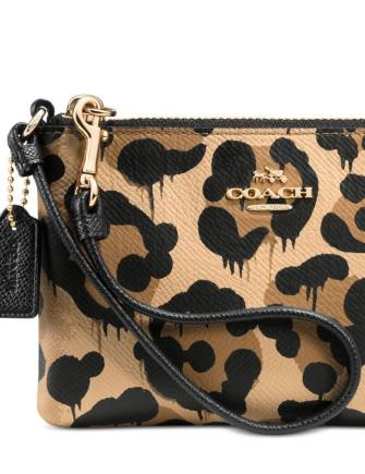 Coach Baseman Wild Beast Zip Leather Wristlet