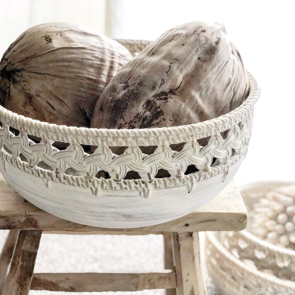 Whitewashed Wooden Bowls