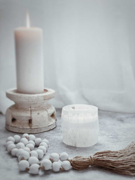 Selenite Crystal Tea Light Holder