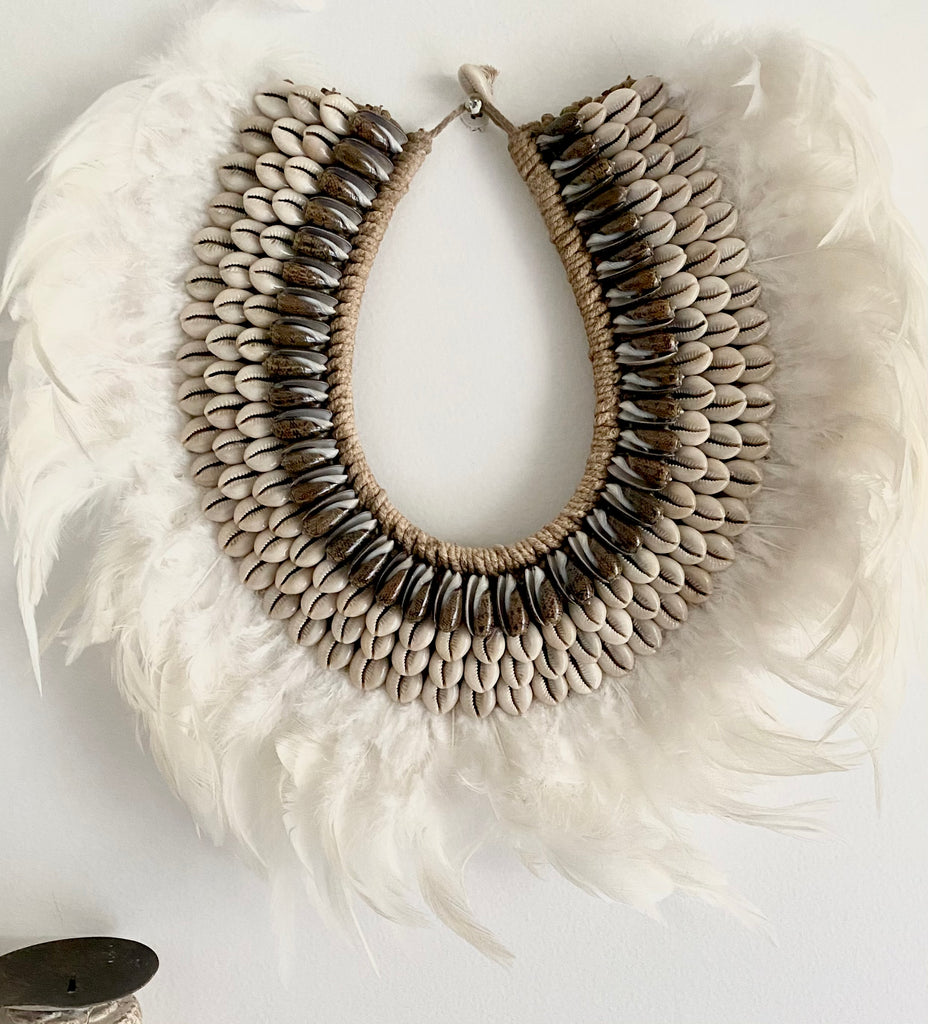 White Tribal Feather and Shell Necklace